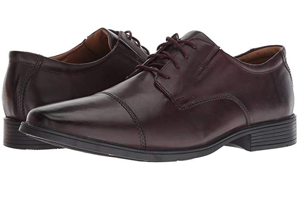 clarks, mens, Tilden Cap Oxford Shoe,wine leather shoes, oxfords