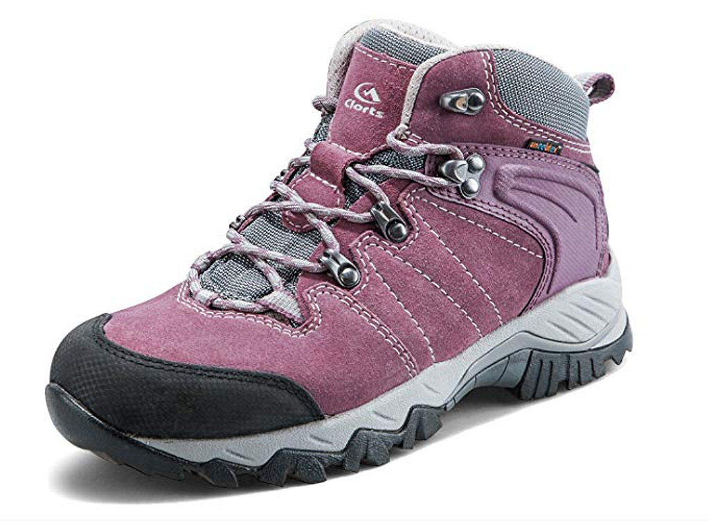 clorts mid hiking boots, women, purple, backpacking shoes