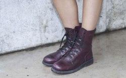 combat boots, shop, purple, lace up