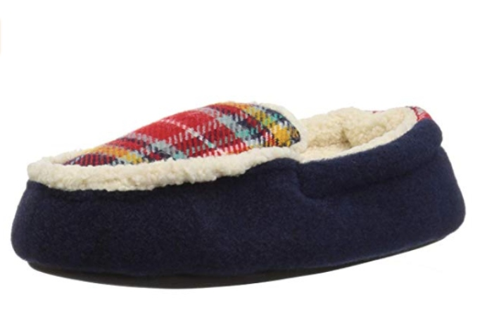 Dearfoams Kid's Felt and Plaid Moccasin Slipper