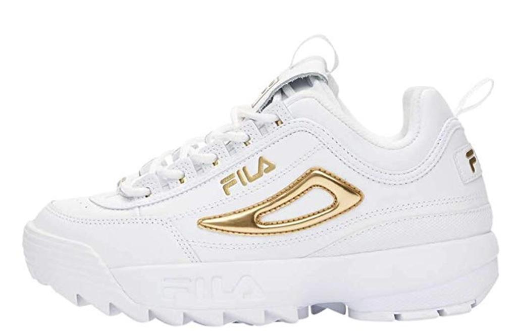 Fila Women's Disruptor II Sneaker, trendy sneakeers amazon, white trainer gold details