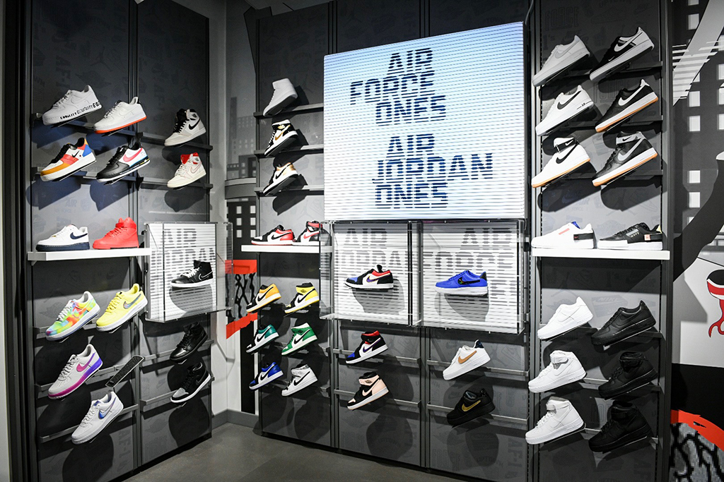 "Inside Foot Locker's ""Power Store"" in the Washington Heights neighborhood in New York."
