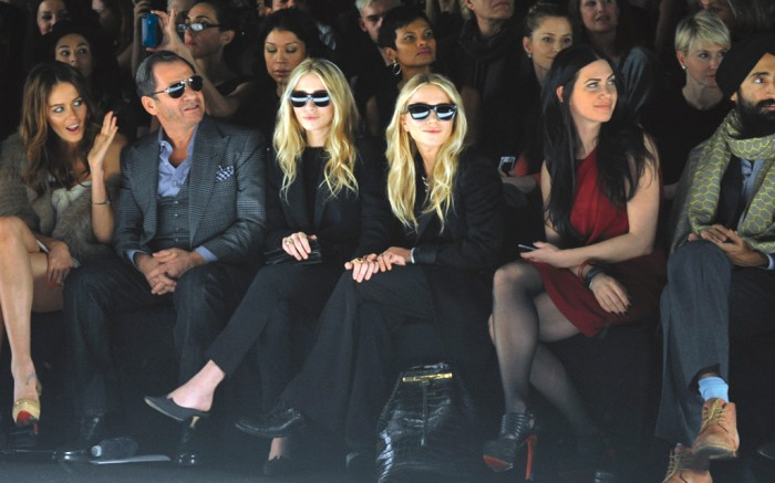 (L-R)LMary-Kate and Ashley Olsen at the J. Mendel show, 2012, celebs front row, nyfw