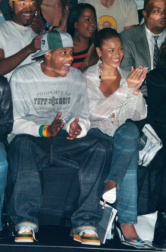 Jay-Z AND Beyonce Knowles at the Rosa Cha show, 2003, celebs front row at NYFW.
