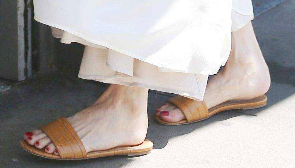 angelina jolie, gabriela hearst Franzine croc-effect leather slides