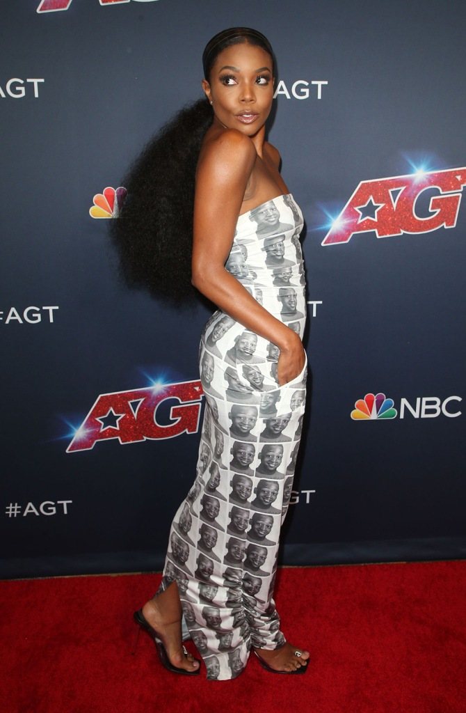 Gabrielle Union, RXCH gown, Dwyane wade photo on her dress, Alexander wang sandals, clear shoes, square toe shoes, celebrity style, red carpet, 'America's Got Talent' TV show, Arrivals, Dolby Theatre, Los Angeles, USA - 27 Aug 2019Wearing THE R X Ch, Custom