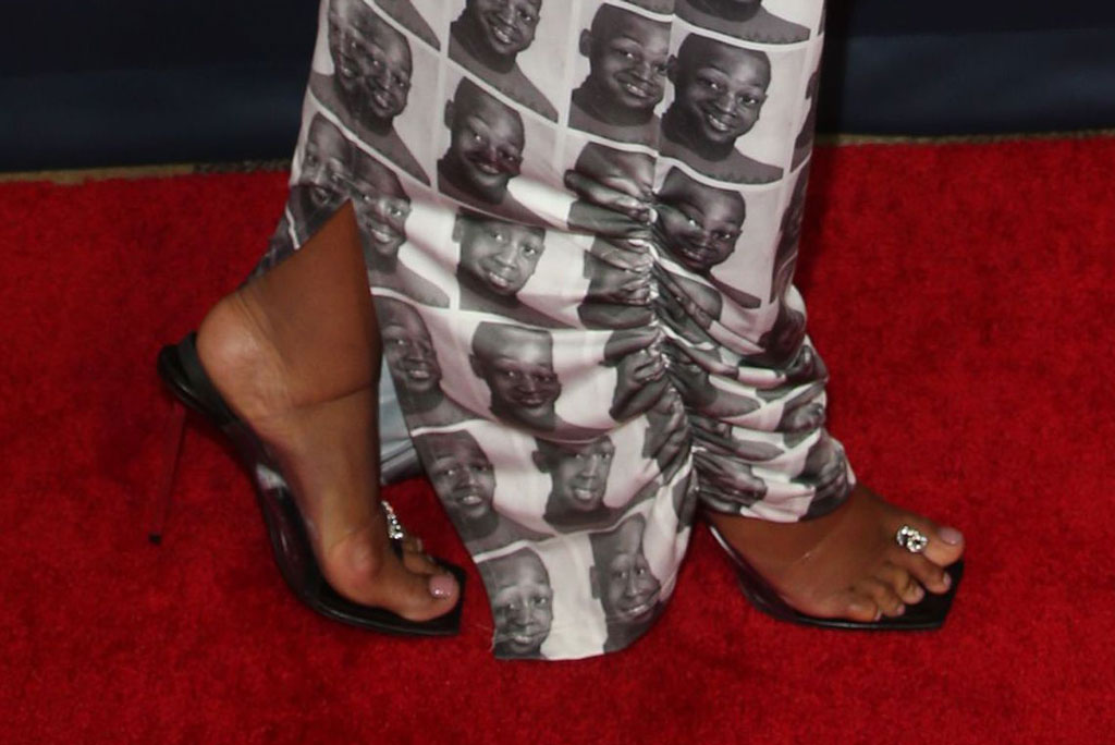 Gabrielle Union, pedicure, logo detail, feet, shoe style, RXCH gown, Dwyane wade photo on her dress, Alexander wang sandals, clear shoes, square toe shoes, celebrity style, red carpet, 'America's Got Talent' TV show, Arrivals, Dolby Theatre, Los Angeles, USA - 27 Aug 2019Wearing THE R X Ch, Custom