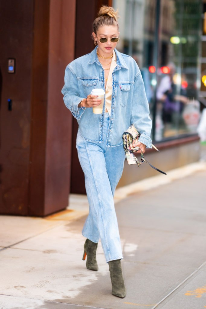 Gigi Hadid, US Open, august 2019, celebrity style, denim, double denim, jeans, suede boots, Louboutin, model,