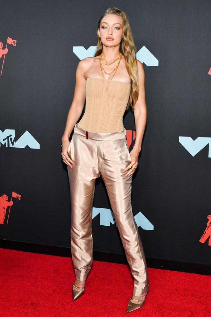 Gigi Hadid, gold heels, MTV Video Music Awards, Arrivals, Prudential Center, New Jersey, USA - 26 Aug 2019