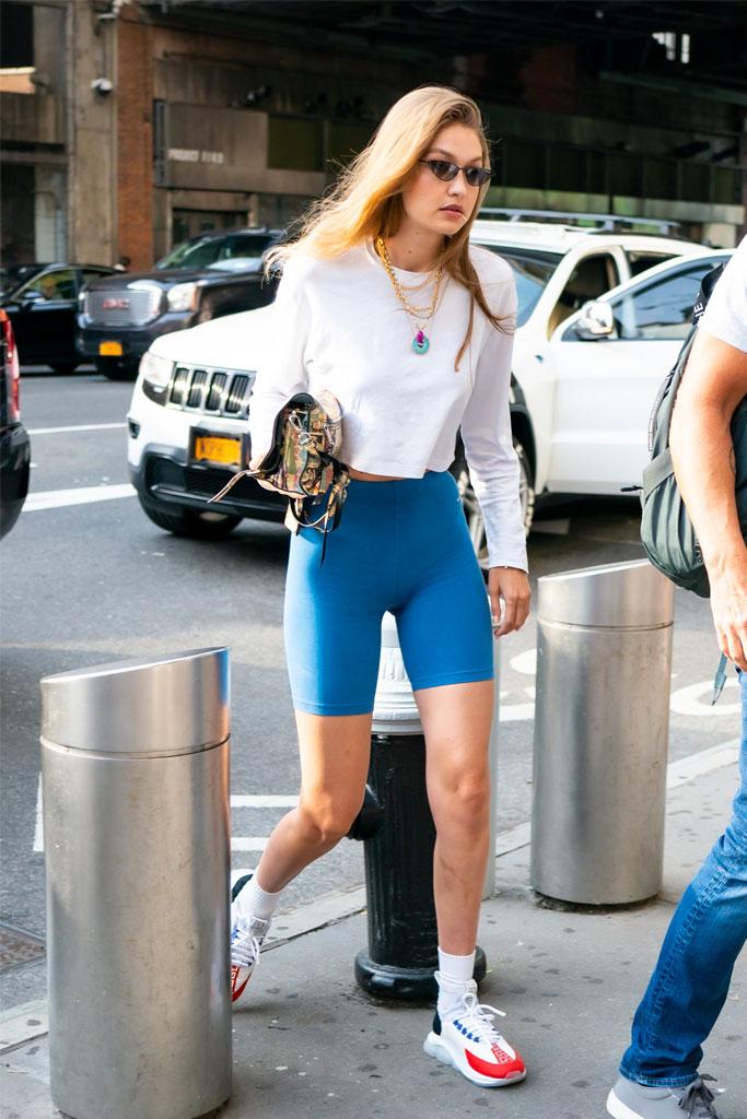 Gigi Hadid, bowling, NYC, sneakers, Versace