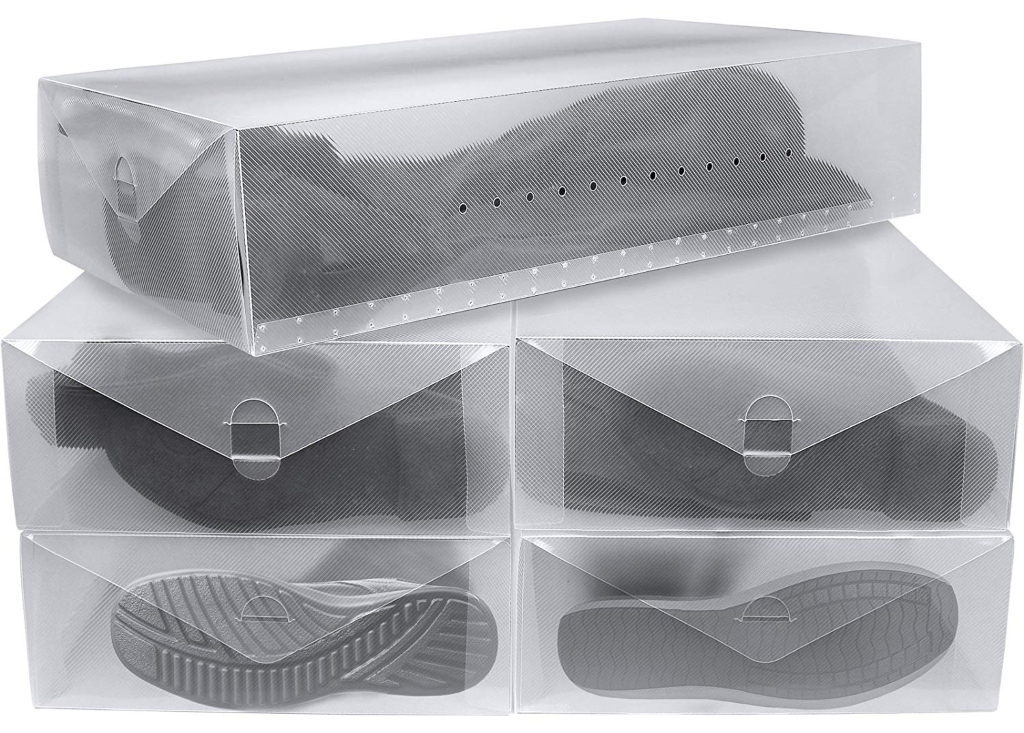 Greenco Clear Foldable Boot Storage Boxes-5 Pack
