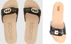 ucci leather slide sandal with interlocking