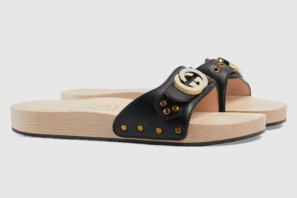 Gucci leather slide sandal with interlocking G