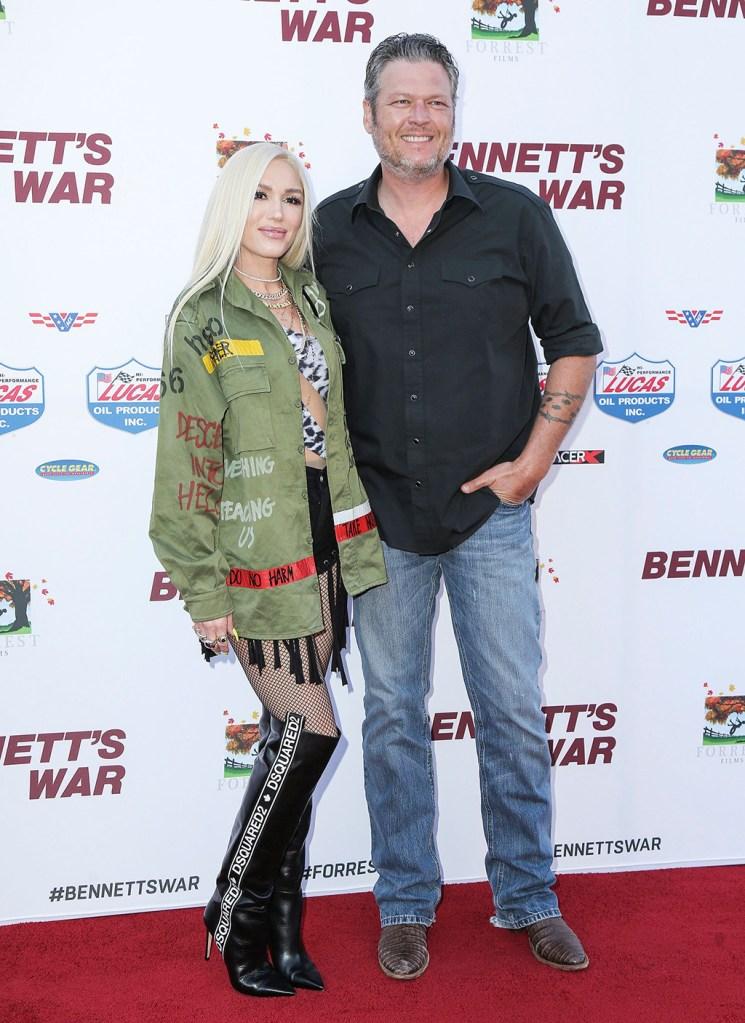 Gwen Stefani, red carpet style, dsquared2 thigh-high boots, diesel shorts, norma Kamari swimsuit, and Blake Shelton'Bennett's War' film premiere, Arrivals, Warner Bros. Studios, Los Angeles, USA - 13 Aug 2019