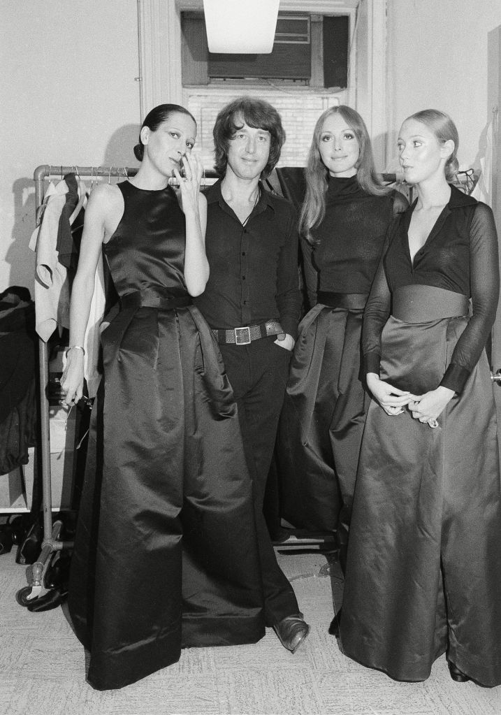 Roy Halston, Roy Halston Frowick Designer Halston with models after showing in New York CityDesigner Halston, New York, USA