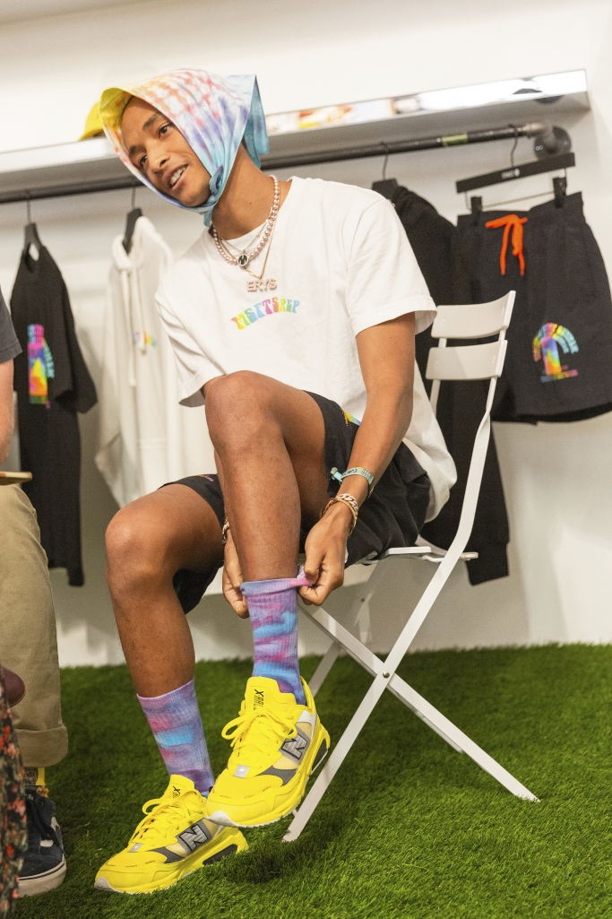 jaden smith, stance socks, new balance