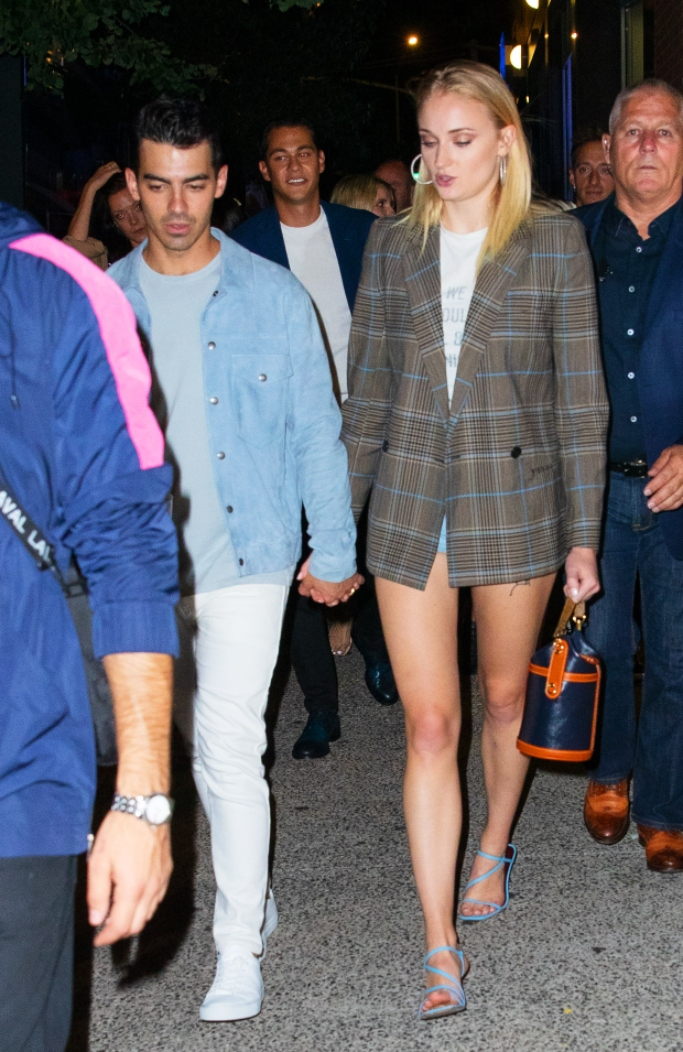 joe jonas and sophie turner, staud gita sandal, dior we should all be feminists tee, Givenchy Checked Double-Breasted Wool-Blend Blazer