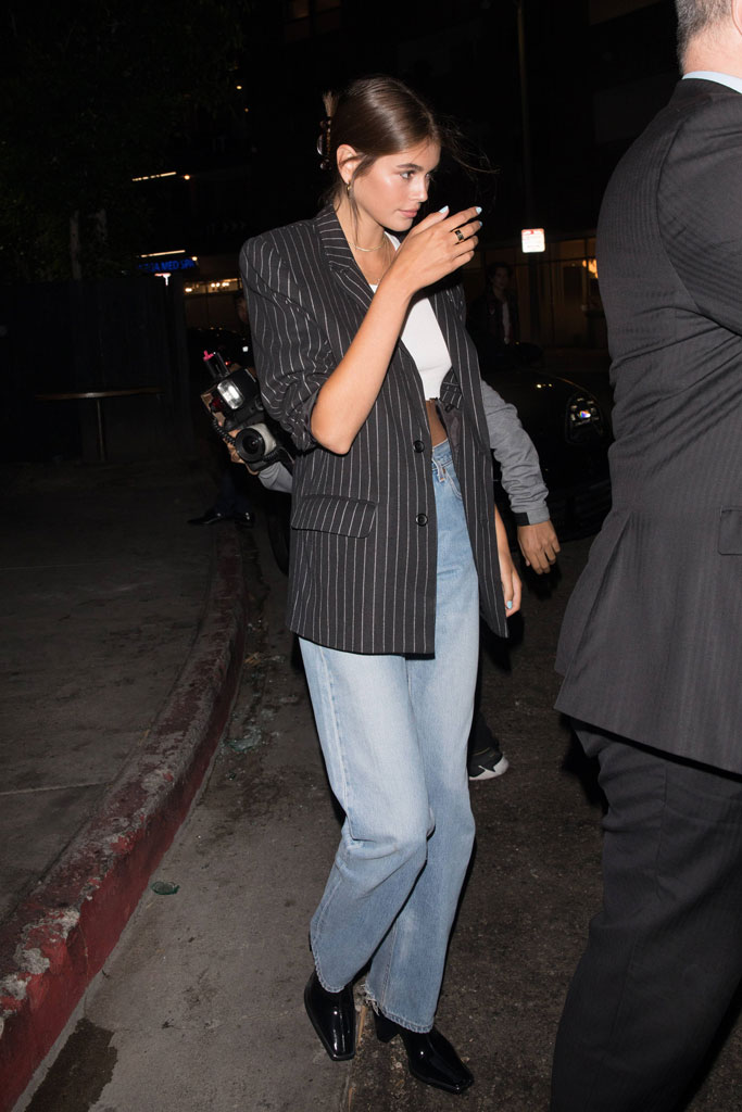 Kaia Gerber, mom jeans, square toes, celebrity shoe style, Los Angeles, California,