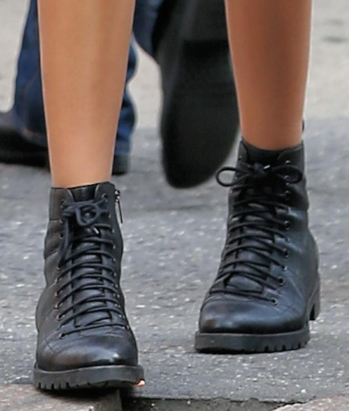 kaia gerber, jimmy choo cruz boots
