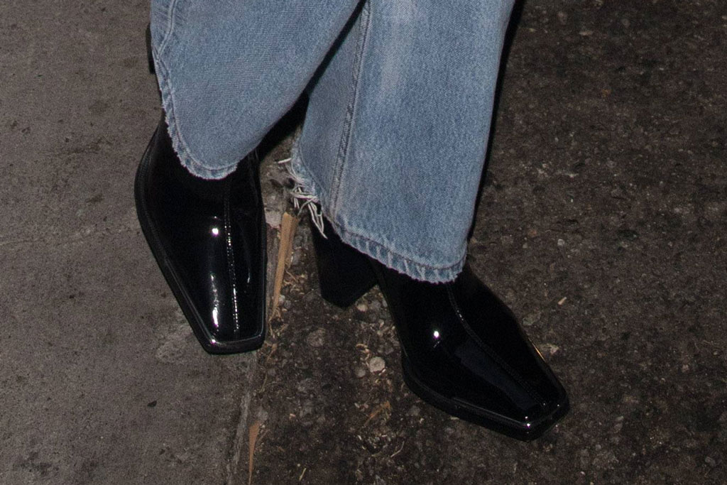 Kaia Gerber, square toes, celebrity shoe style, 90s style