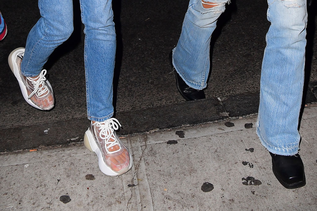 Kaitlynn Carter, clear sneakers, Stella McCartney, toes, Miley Cyrus, square toes, vmas after party, august 2019, celebrity style