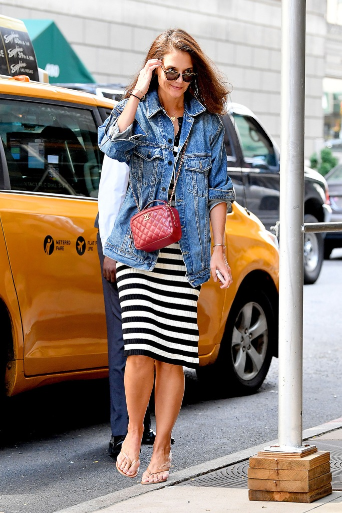 Katie Holmes, striped dress, chanel purse, heeled flip-flops, thong sandals, gianvito rossi shoes, nyc street style, celebrity style, jean jacket, Katie Holmes seen after alleged cheating by boyfriend Jamie Foxx in New York CityPictured: Katie HolmesRef: SPL5109825 180819 NON-EXCLUSIVEPicture by: Robert O'Neil / SplashNews.comSplash News and PicturesLos Angeles: 310-821-2666New York: 212-619-2666London: 0207 644 7656Milan: +39 02 56567623photodesk@splashnews.comWorld Rights