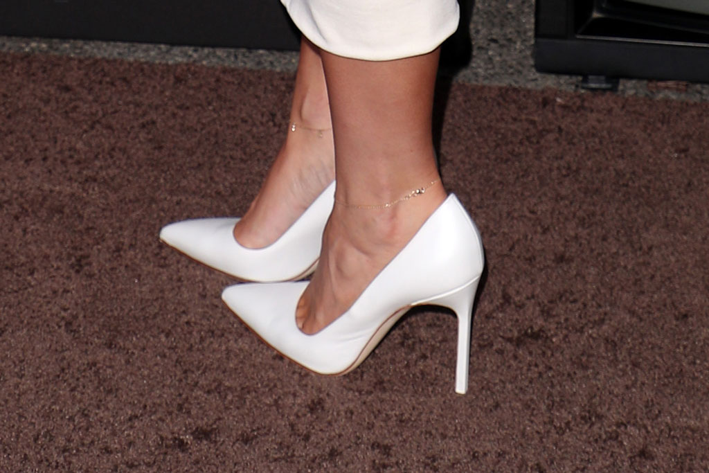 Kylie Jenner, celebrity style, shoes, stilettos, white pumps, Manolo blank, high heels, Travis Scott: Look Mom I Can Fly' film premiere, Arrivals, Barker Hangar, Los Angeles, USA - 27 Aug 2019