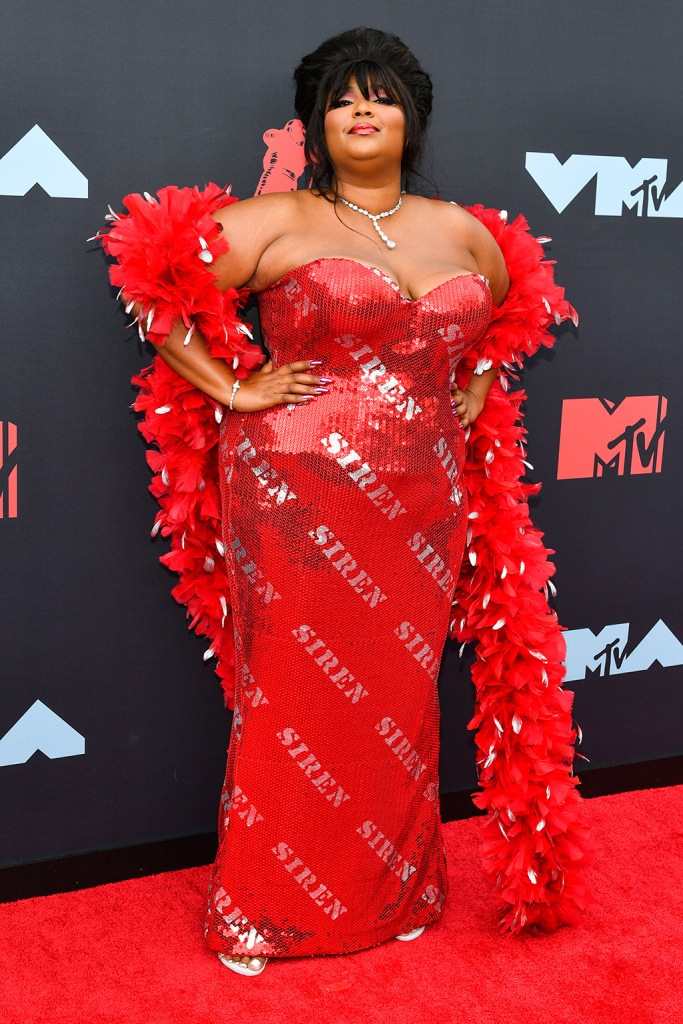 Lizzo, celebrity style, sequined gown, feather boa, red dress, MTV Video Music Awards, Arrivals, Prudential Center, New Jersey, USA - 26 Aug 2019