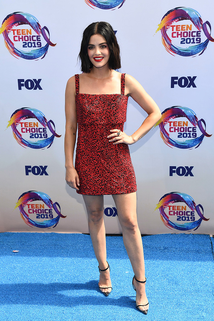 Lucy Hale, Andrea Wazen heels, pumps, Teen Choice Awards, Arrivals, Los Angeles, USA - 11 Aug 2019