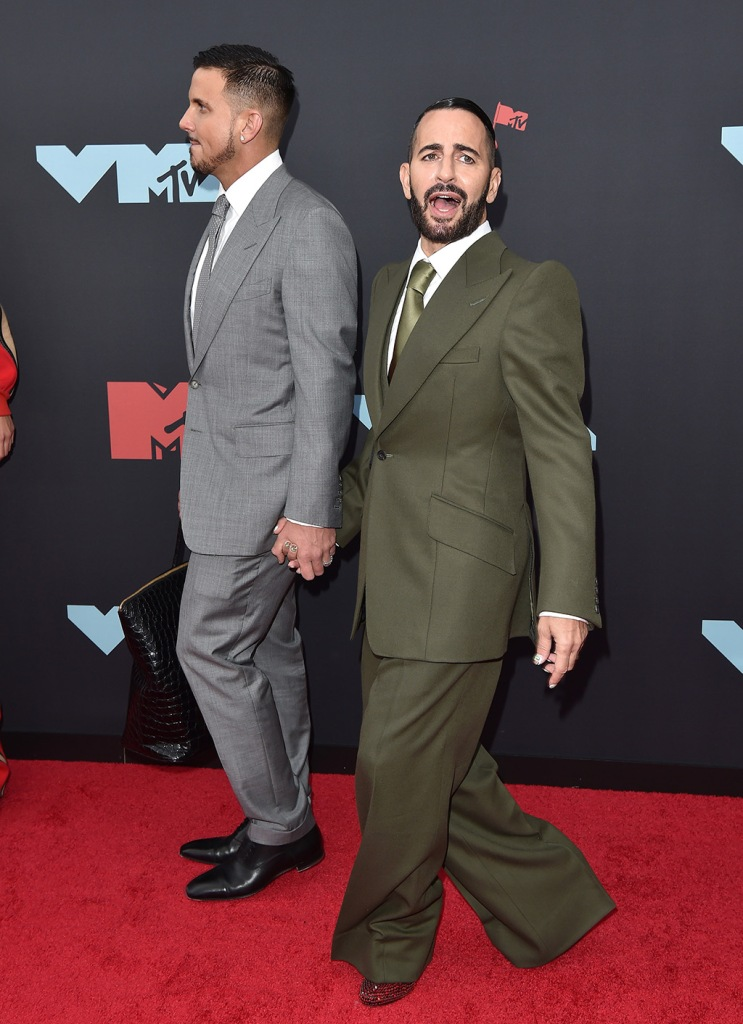 Marc Jacobs, olive green suit, Prada shoes, ruby slippers, red carpet, celebrity shoe style, 2019 MTV Video Music Awards Prudential Center, Newark, New Jersey. 26 Aug 2019 Pictured: Charly Defrancesco,Marc Jacobs. Photo credit: AXELLE/BAUER-GRIFFIN / MEGA TheMegaAgency.com +1 888 505 6342 (Mega Agency TagID: MEGA489485_019.jpg) [Photo via Mega Agency]
