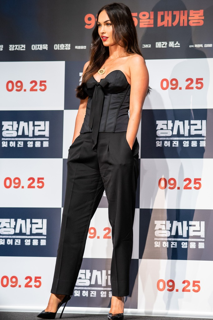 Megan Fox, Olivier theyskens corset top, pants, casadei blade pumps, 'Battle of Jangsari' film press conference, Seoul, South Korea - 21 Aug 2019Wearing Olivier Theyskens