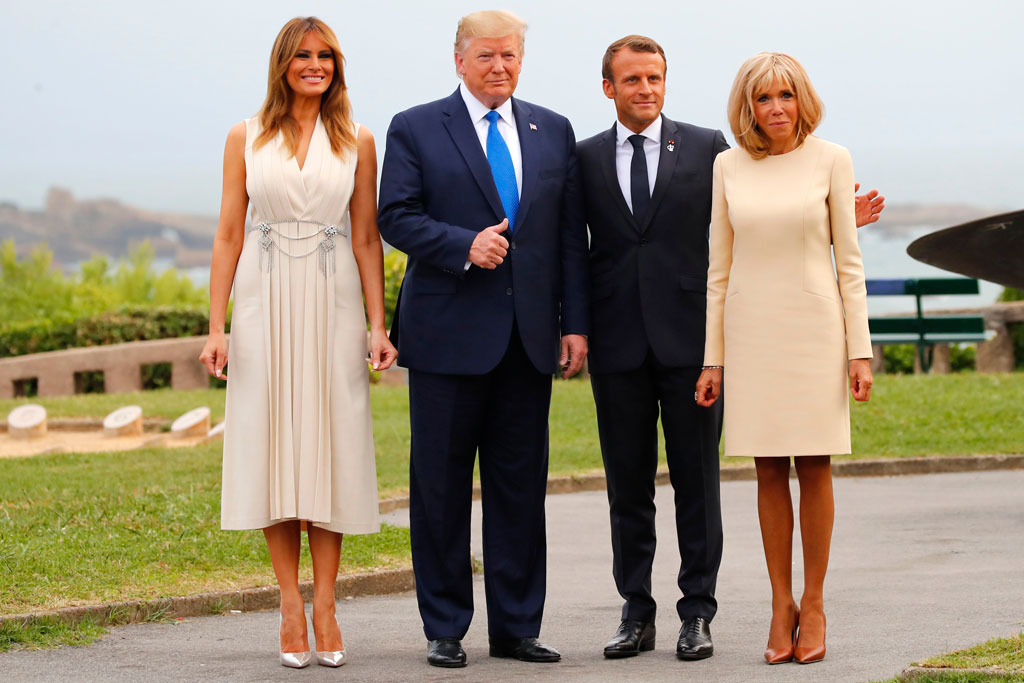 Melania Trump, Donald Trump, Emmanuel Macron and Brigitte Macron , France, celebrity style, g7 summit, august 2019