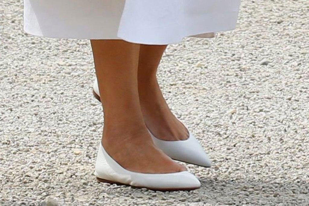 Melania Trump, Christian Louboutin, ballet flats, celebrity shoe style, g7 summit