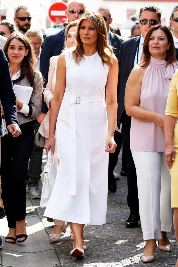 Melania Trump, Christian Louboutin, ballet flats, celebrity shoe style, g7 summit, white midi dress