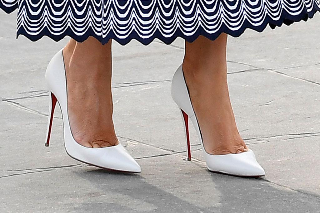 Melania Trump, christian Louboutin so Kate pumps, celebrity style, shoe detail, France, g7 summit
