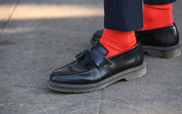Street style, shoe detail, Fall 2018, Milan Fashion Week Men's