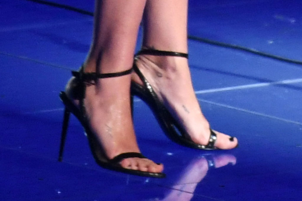 Miley Cyrus, pedicure, shoes, performance, saint Laurent minidress, LBD, tom ford sandals, MTV Video Music Awards, Show, Prudential Center, New Jersey, USA - 26 Aug 2019Wearing Saint Laurent