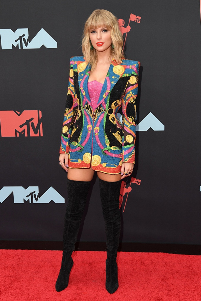 Taylor Swift, thigh-high boots, blazer, legs, celebrity shoe style, MTV Video Music Awards, Arrivals, Prudential Center, New Jersey, USA - 26 Aug 2019