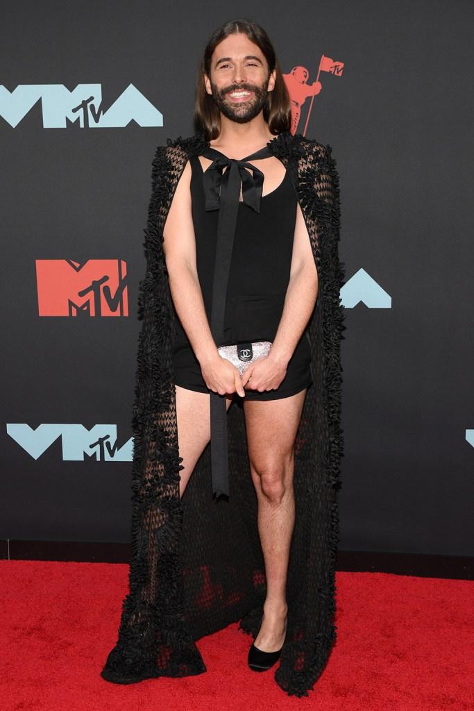 Jonathan Van Ness, high heels, pumps, red carpet, heels, cape, bodysuit, MTV Video Music Awards, Arrivals, Prudential Center, New Jersey, USA - 26 Aug 2019
