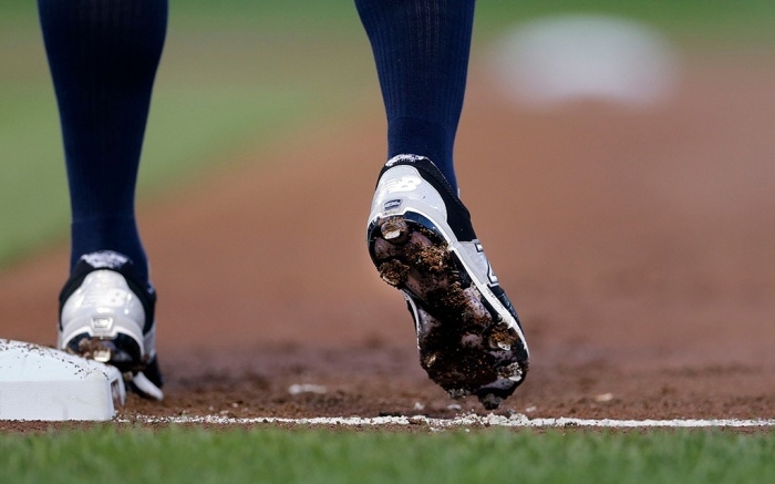 Brett Gardner Dirt sticks to the cleats of New York Yankees' Brett Gardner as he takes a lead from first base during a baseball game against the Baltimore Orioles, in BaltimoreYankees Orioles Baseball, Baltimore, USA