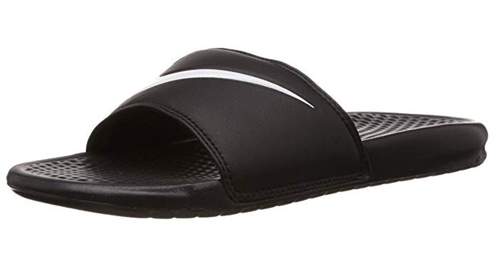Nike Benassi slides, sandals, black, white swoosh