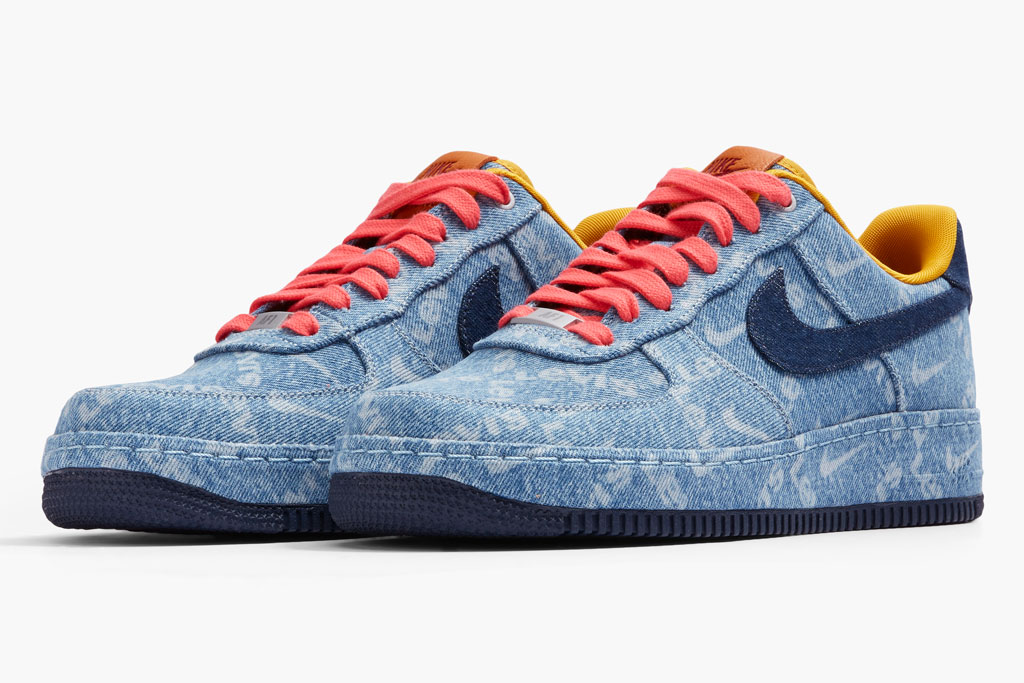 Levi's x Nike Air Force 1 Low, indigo, denim, red laces, collaboration