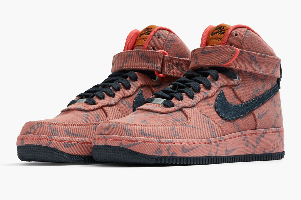 Levi's x Nike Air Force 1 High sneakers, red, af1s, shoes, collaboration