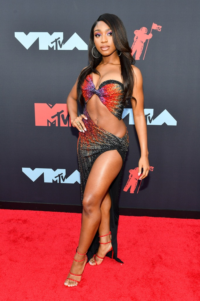 Normani, red sandals, abs, legs, MTV vmas, celebrity style, stilettos, MTV Video Music Awards, Arrivals, Prudential Center, New Jersey, USA - 26 Aug 2019