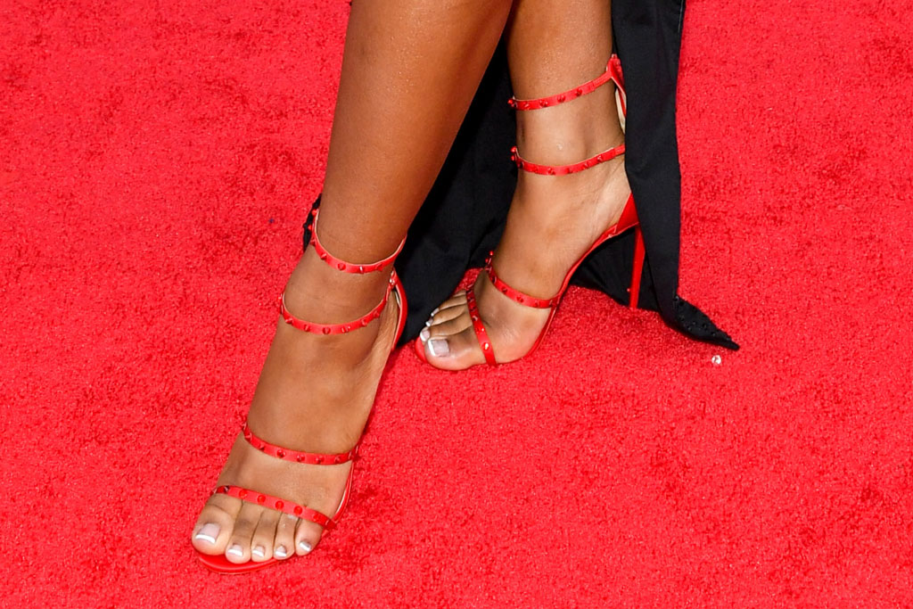 Normani, red sandals, pedicure, feet, legs, MTV vmas, celebrity style, stilettos, MTV Video Music Awards, Arrivals, Prudential Center, New Jersey, USA - 26 Aug 2019