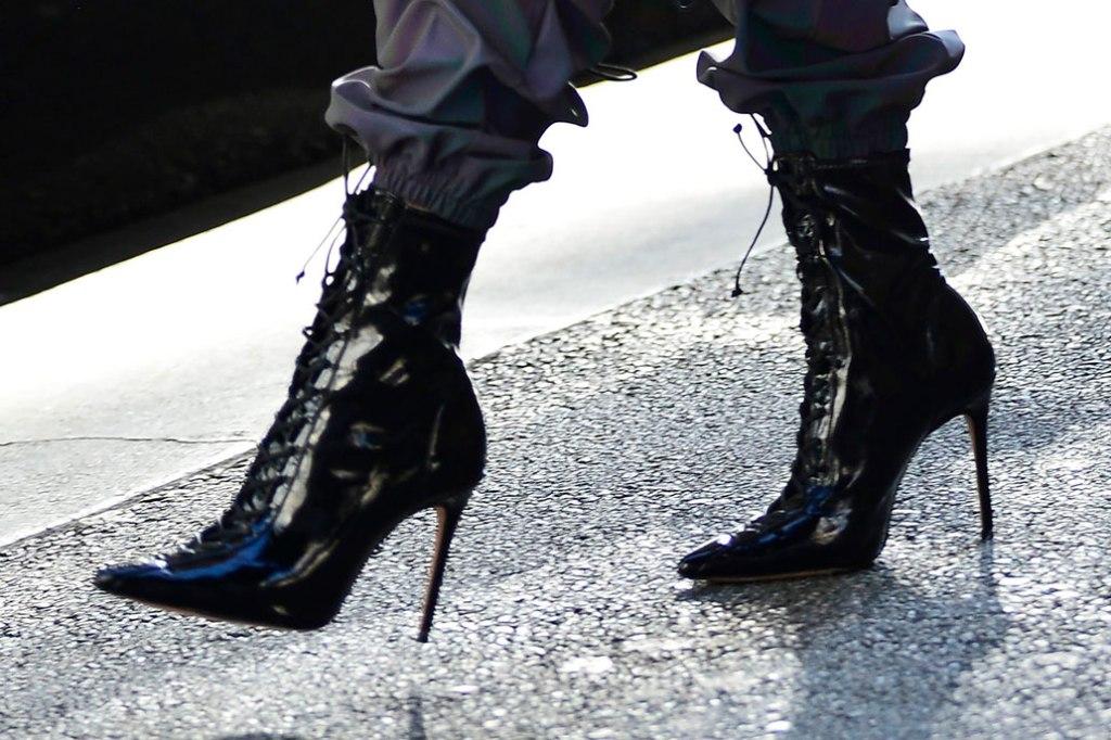 Olivia Culpo, shiny black booties, stilettos, celebrity style, July 2019, street style