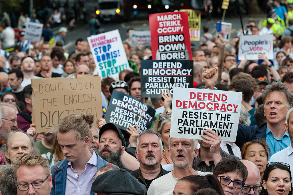 Protests against the proroguing of Parliament in advance of a no-deal Brexit.