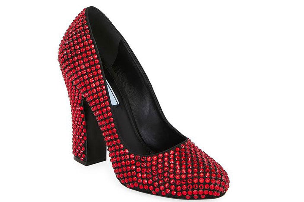 Prada crystal embellished ruby slippers