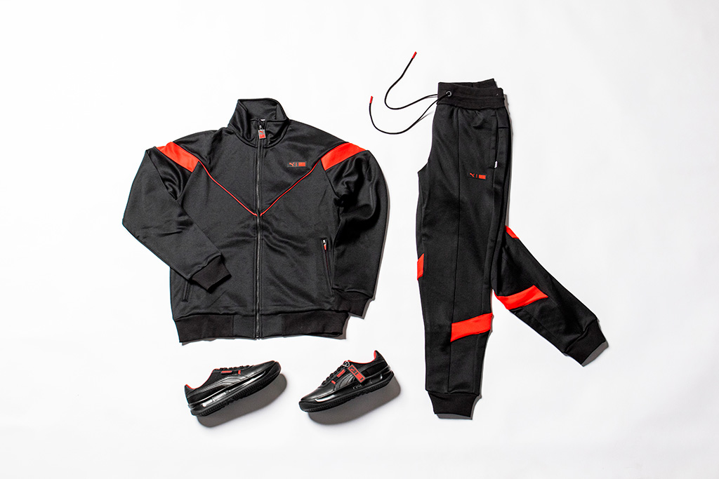 Puma TMC The Marathon Clothing, Nipsey Hussle, trackpants, track jacket, black shoes