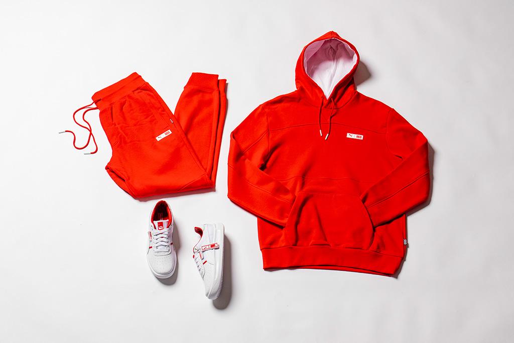 Puma TMC The Marathon Clothing, Nipsey Hussle, collection, red, sweatshirt, sweatpants, sneakers